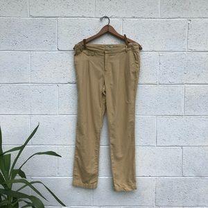 Vintage Tan Linen Cuffed Skinny Leg Pants